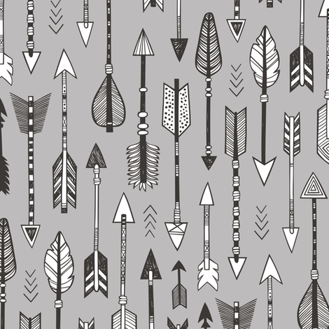 Arrows on Grey fabric by caja_design on Spoonflower - custom fabric