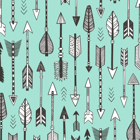 Arrows on Mint Green fabric by caja_design on Spoonflower - custom fabric