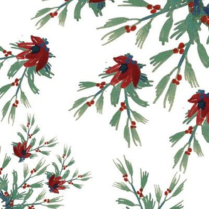 Pine Branches & Red Berries