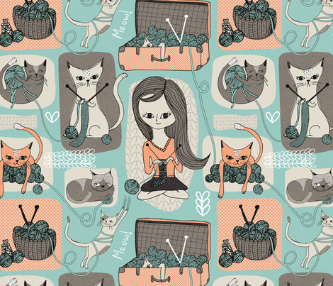 Cats & Wool fabric by melarmstrongdesign on Spoonflower - custom fabric