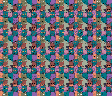 The Cats Family fabric by alexsan on Spoonflower - custom fabric