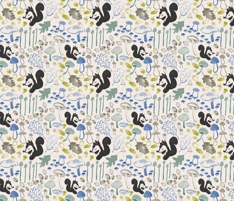 Woodland squirrel and mushrooms in cream, charcoal and teal fabric by canigrin on Spoonflower - custom fabric