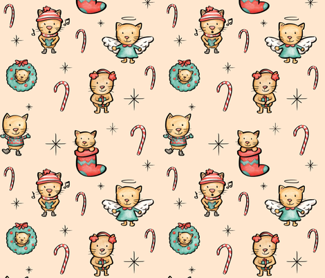 Christmas Cats fabric by lateliermad on Spoonflower - custom fabric