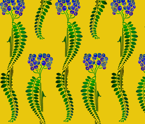 fern_berries with yellow fabric by graylorax on Spoonflower - custom fabric