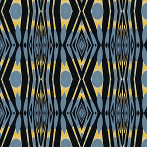 Diamond Stripes in Blue, Black and Yellow
