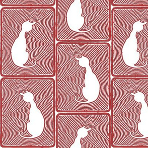 Stripey Cat Tiles in Red and White