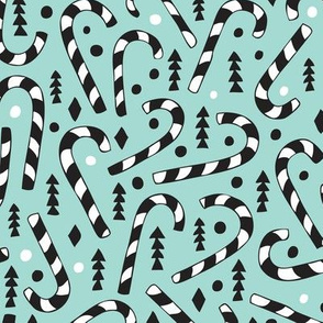 Christmas candy canes cool geometric seasonal illustration scandinavian style holiday theme in mint black and white