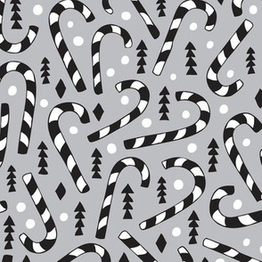 Christmas candy canes cool geometric seasonal illustration scandinavian style holiday theme in gray black and white