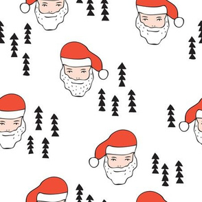 Santa Claus is coming your way cool Christmas seasonal woodland theme for kids in red black and white