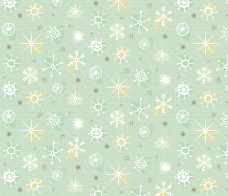 Atomic Style Snowflakes (mint) fabric by seesawboomerang on Spoonflower - custom fabric