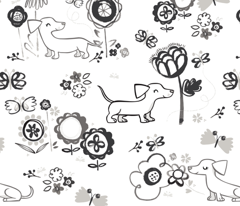 Sausage Dogs fabric by birdy_&_bel on Spoonflower - custom fabric
