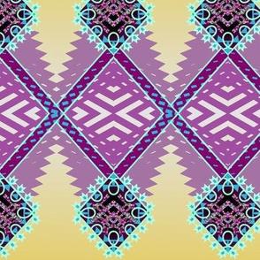 Diamond Zig Tribal Rug in Violet on Goldenrod