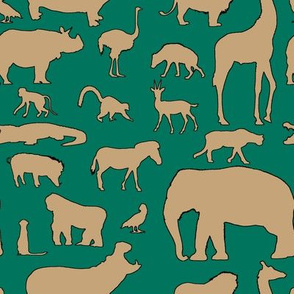 African Animals - Jungle Green/Tan