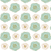 rose pattern in mint and powder pink