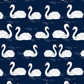Swans in the Pond - Navy (Smaller) by Andrea Lauren