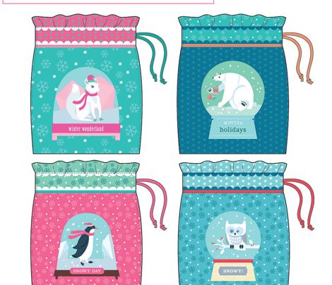 Winter Snowdomes Small Bags