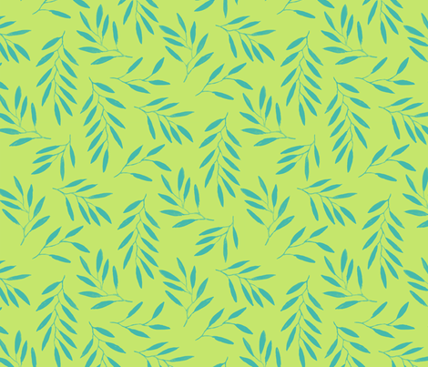 willow - Lime Turquoise fabric by jillbyers on Spoonflower - custom fabric