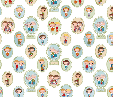 Little Pilgrim Family Portraits fabric by woodmouse&bobbit on Spoonflower - custom fabric