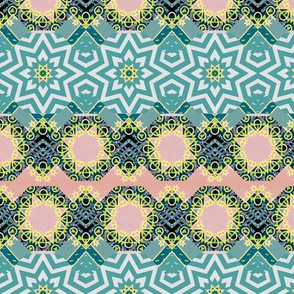 Ornate Arabic Star Tiles in Green