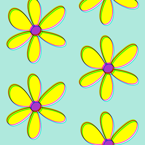 Dean's Yellow Daisies With Offset Colors fabric by midcoast_miscellany on Spoonflower - custom fabric