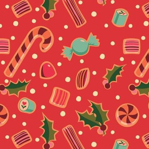 Christmas Candy on Red