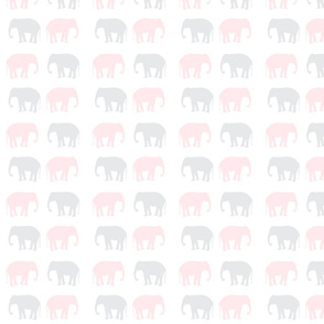elephant in light gray and powder pink