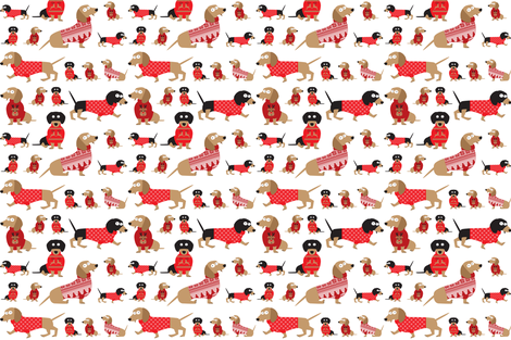Dachshunds in Christmas sweaters fabric by chicoinedesign on Spoonflower - custom fabric