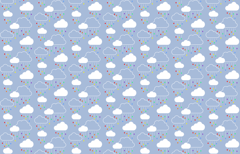 Small Clouds - White on Gray-Blue with Rainbow Raindrops fabric by cavutoodesigns on Spoonflower - custom fabric