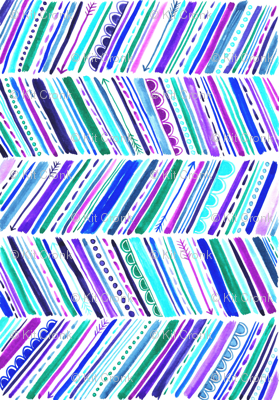 Watercolour Chevron Purple Pink Turquoise