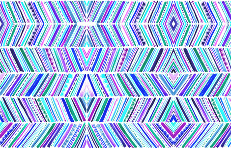 Watercolour Chevron Purple Pink Turquoise fabric by kitcronk on Spoonflower - custom fabric