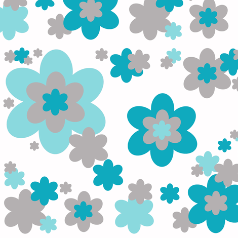 Turquoise Teal Blue Grey Gray Floral Flower Pattern fabric by decamp_studios on Spoonflower - custom fabric