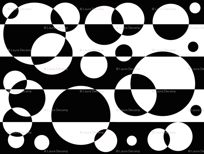 Black White Geometric Circle Abstract Design Wallpaper