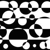 Black White Geometric Circle Abstract Design Wallpaper