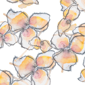 Watercolour orange flowers
