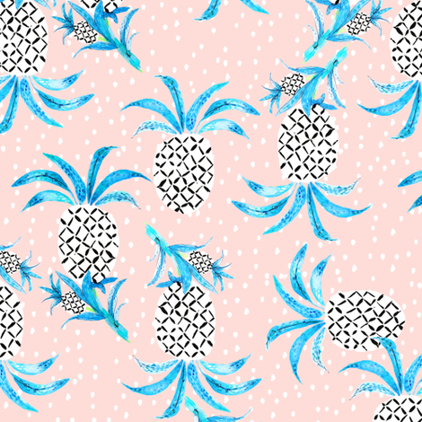 Tropicana Pineapple (pink) fabric by nouveau_bohemian on Spoonflower - custom fabric