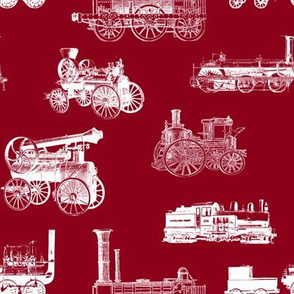 Antique Steam Engines - Burgundy