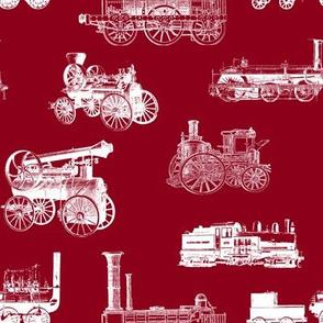 Antique Steam Engines - Burgundy