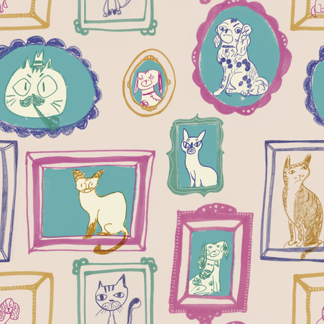 Pet family portrait in pale pink and lilac fabric by canigrin on Spoonflower - custom fabric