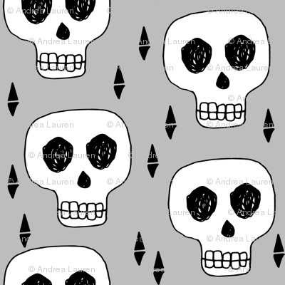 skulls // halloween grey mini tiny print halloween spooky creepy scary