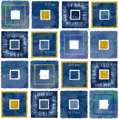 Watercolor and Gold Squares