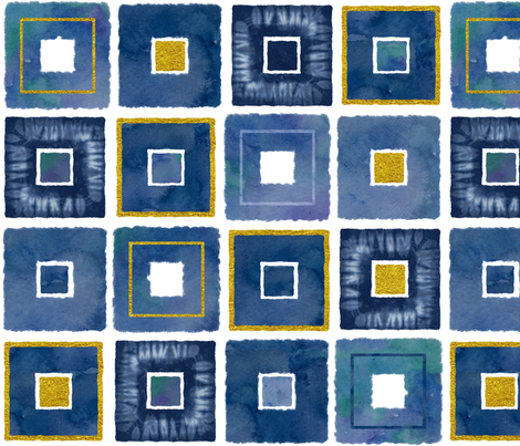 Watercolor and Gold Squares fabric by theplayfulcrow on Spoonflower - custom fabric
