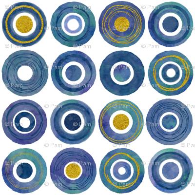 Watercolor and Gold Circles