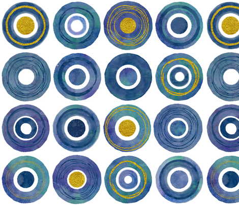 Watercolor and Gold Circles fabric by theplayfulcrow on Spoonflower - custom fabric