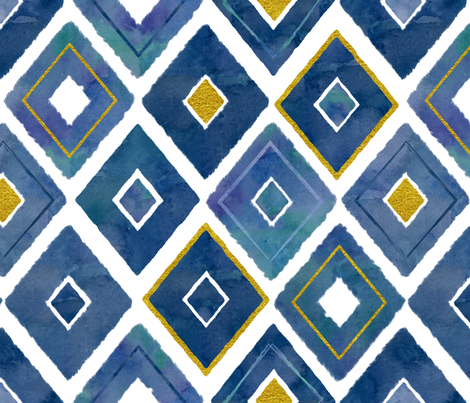 Watercolor and Gold Diamonds fabric by theplayfulcrow on Spoonflower - custom fabric