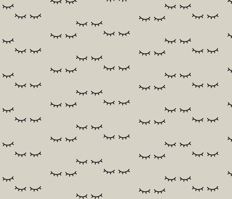 Sleepy Eyes - Beige Background  fabric by kimsa on Spoonflower - custom fabric