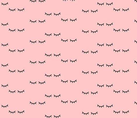 Sleepy Eyes - Blush Background  fabric by kimsa on Spoonflower - custom fabric