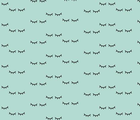 Sleepy Eyes - Mint Background   fabric by kimsa on Spoonflower - custom fabric