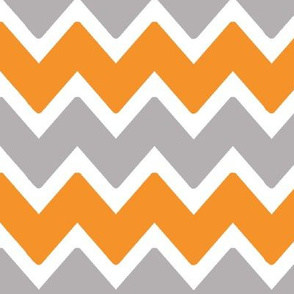 Orange Grey Gray Chevron Zigzag