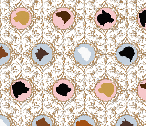 Ten Dog Toile fabric by peacoquettedesigns on Spoonflower - custom fabric