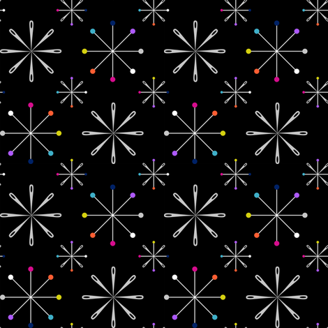 Atomic Pins and Needles Black Small fabric by modgeek on Spoonflower - custom fabric